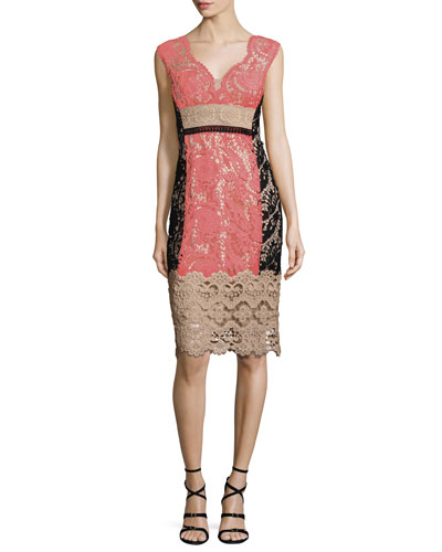 Cap-Sleeve Lace Colorblock Cocktail Dress