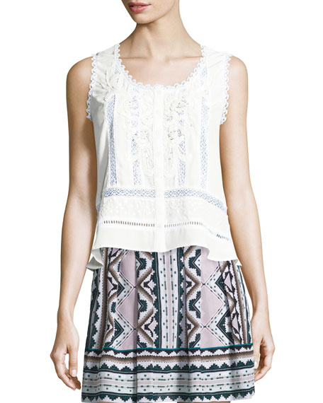 Nanette Lepore Sleeveless Lace-Inset Top, Ivory