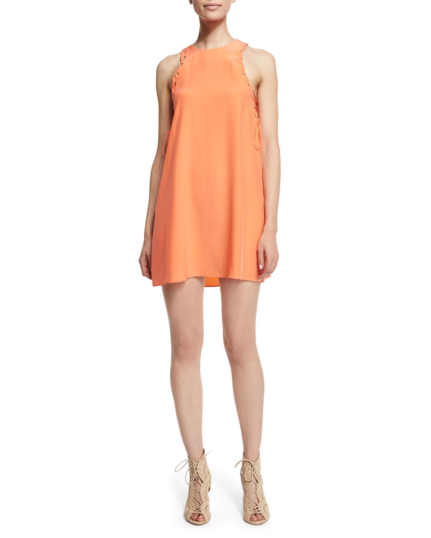 Amanda Uprichard Allegra Sleeveless Mini Dress, Coral | Neiman Marcus