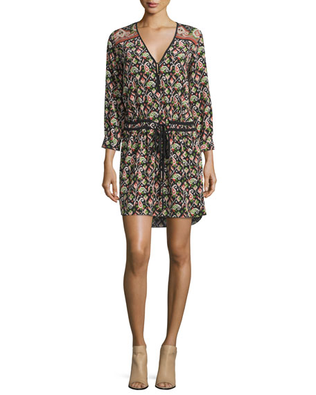 Veronica BeardVenice V-Neck Paisley Dress, Terra Cotta