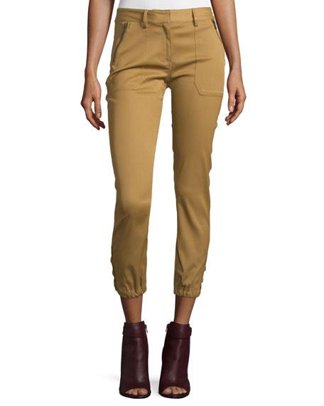 Veronica Beard Dune Cropped Stretch-Cuff Cargo Pants, Beige