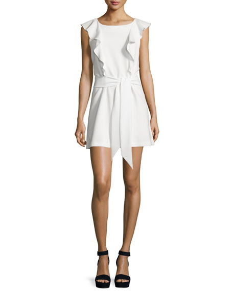 Elizabeth and James Millette Ruffle-Trim Mini Dress, Ivory