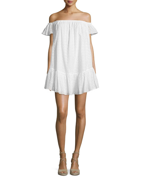 Elizabeth and James Pippa Off-The-Shoulder Eyelet Dress, White