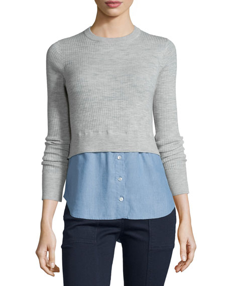 Veronica Beard Cati Wool Shirttail Combo Sweater, Gray/Blue