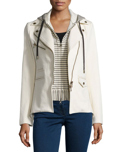 Stretch Jacket w/ Striped Hoodie Dickey, Ecru