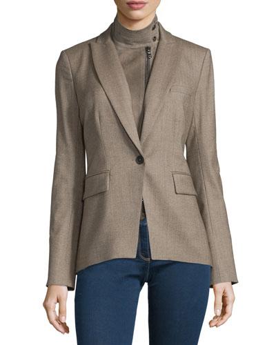 Kahn Herringbone Jacket w/ Leather Dickey, Taupe
