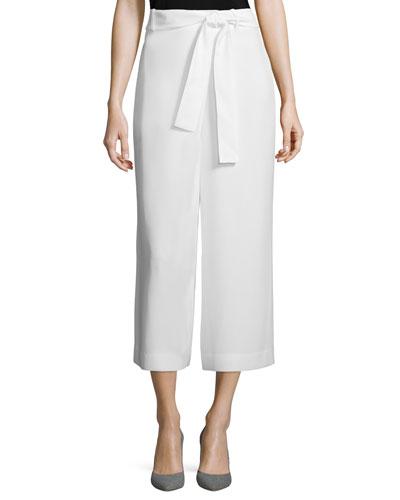 Eldridge Cropped Crepe Pants, Cloud, Women's