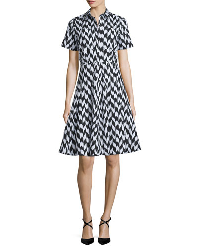 Short-Sleeve Soma-Print Shirtdress, Black