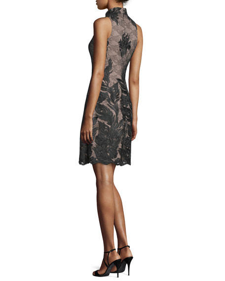 Embroidered Sleeveless High-Neck Cocktail Dress, Black/Nude