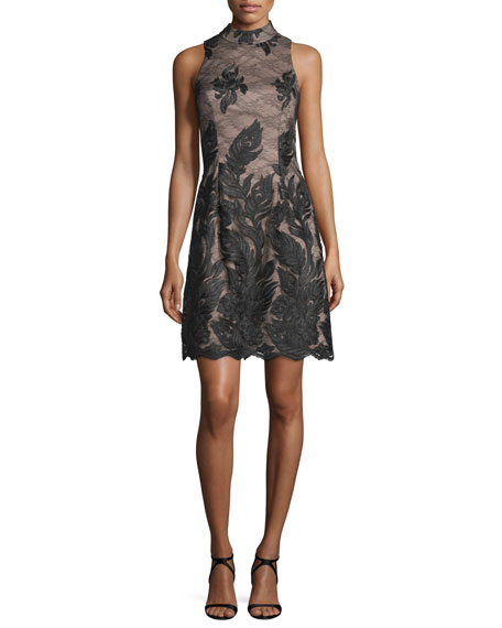 Aidan Mattox Embroidered Sleeveless High-Neck Cocktail Dress,