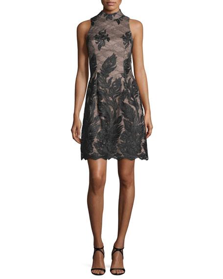 Aidan Mattox Embroidered Sleeveless High-Neck Cocktail Dress,