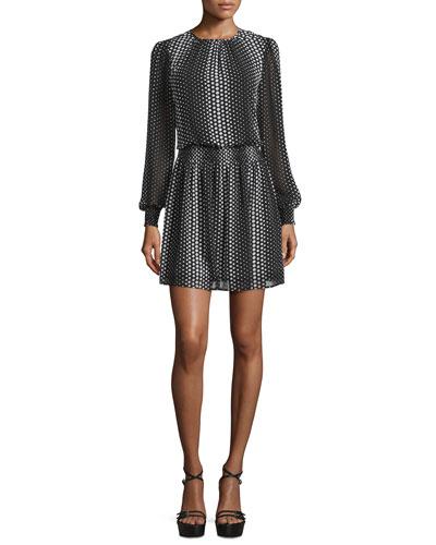 Aralia Dot-Print Mini Dress, Black