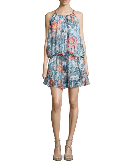 Kenji Sleeveless Floral-Print Dress, Multi/Black
