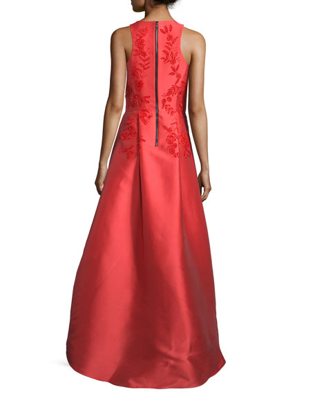 Sleeveless Embroidered High-Low Gown