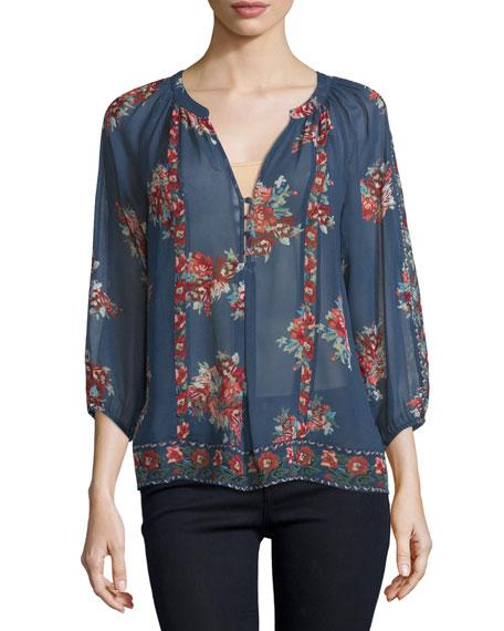 JoieGloria F Floral-Print Silk Top