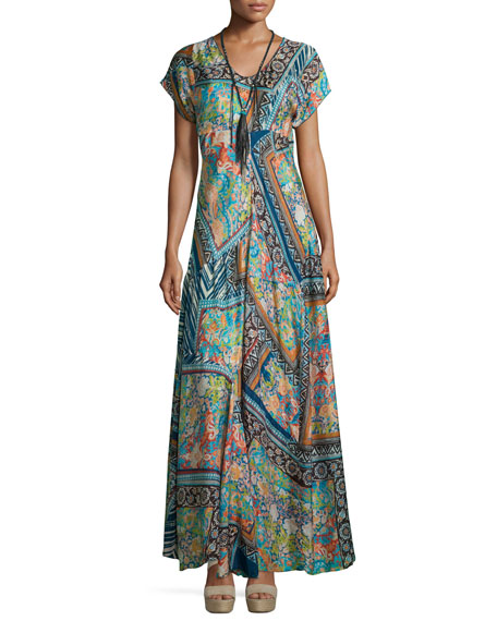 Roseton Short-Sleeve Printed Maxi Dress, Multi Colors, Plus Size