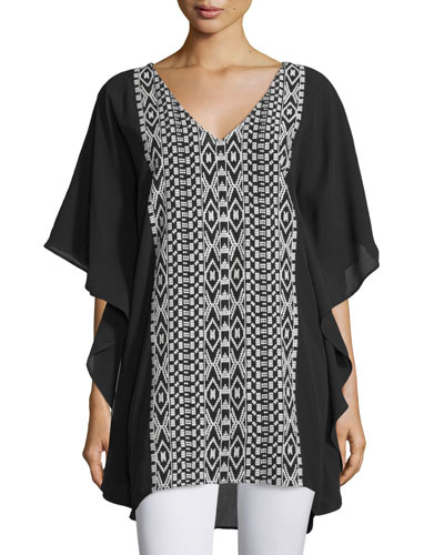 Juliana V-Neck Embroidered Caftan, Onyx, Plus Size