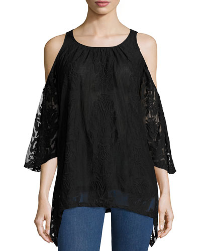 Risette Cold-Shoulder Bouquet-Embroidered Top, Women's