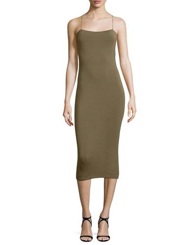 Strappy Cutout Midi Dress, Army