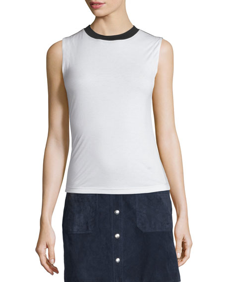 Beech Two-Tone Jersey Top, Blanc