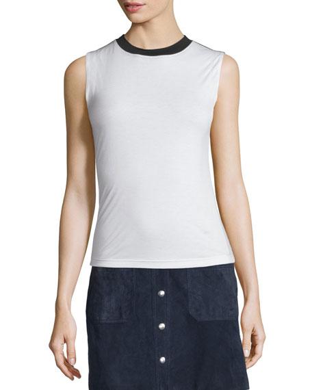 Beech Two-Tone Jersey Top, Blanc