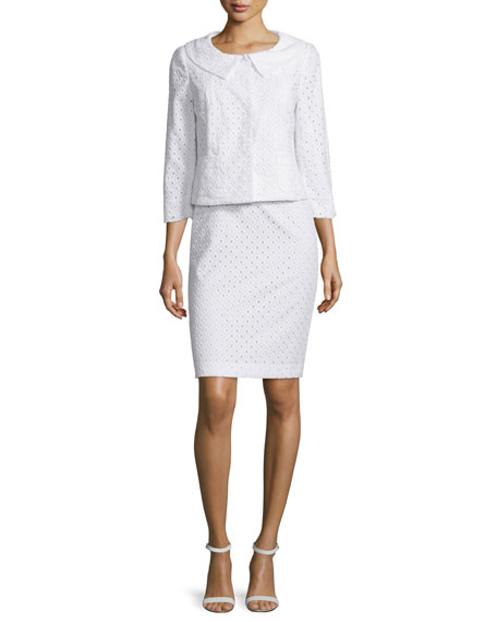 Albert Nipon Long-Sleeve Eyelet Skirt Suit