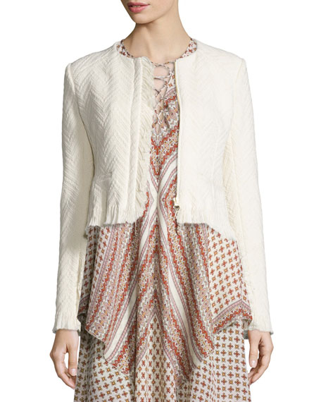 Derek Lam 10 Crosby Chevron Fringe Cropped Jacket,