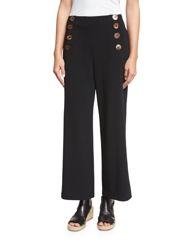 Cropped Wide-Leg Sailor Pants, Black