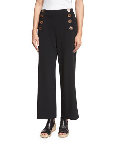 Cropped Wide-Leg Sailor Pants, Black