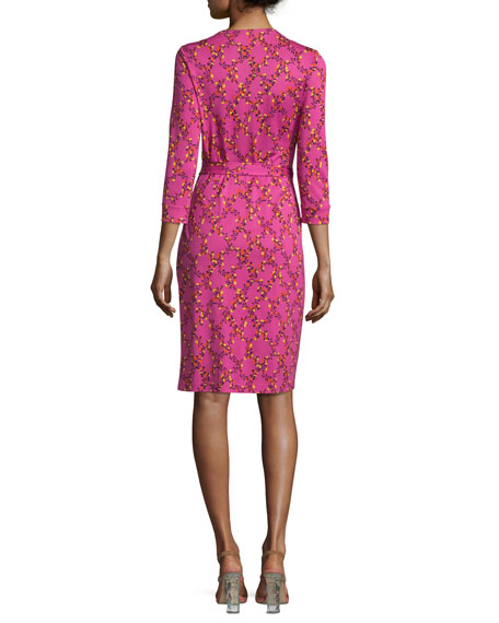 New Julian Two Shalamar Trellis Silk Wrap Dress, Pink