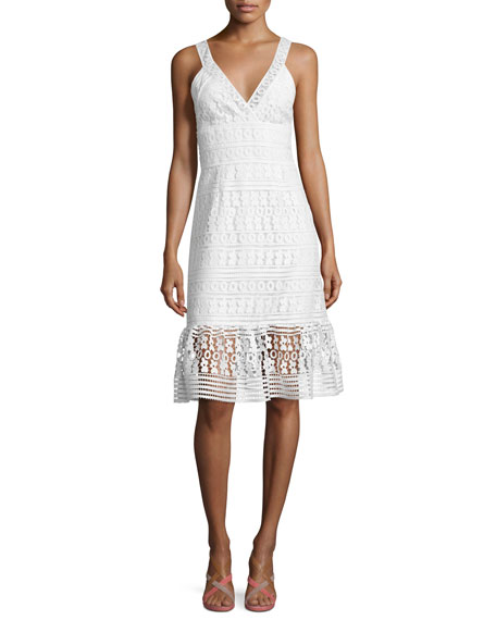 Diane von Furstenberg Tiana Sleeveless Lace Flounce Dress,