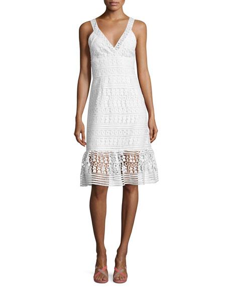 Diane von Furstenberg Tiana Sleeveless Lace Flounce Dress,