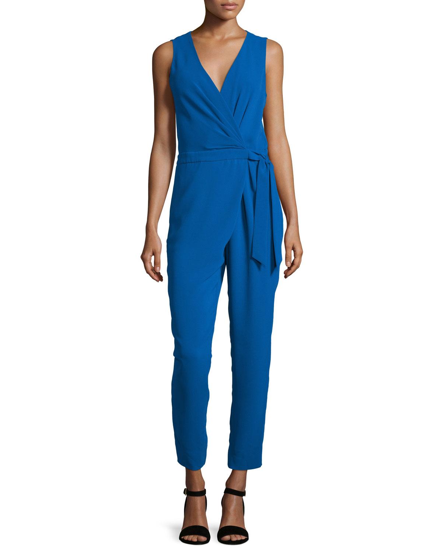 Diane von Furstenberg Cordia Sleeveless Crepe Surplice Jumpsuit, Blue  Riviera | Neiman Marcus