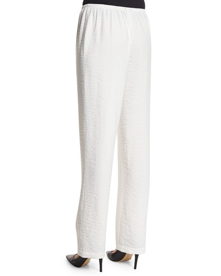 Cabo Straight-Leg Crinkled Pants, Petite