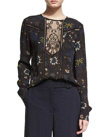 A.L.C.Noemi Long-Sleeve Floral Silk Top, Black/Multicolor