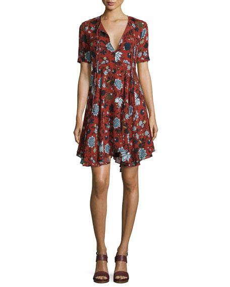 A.L.C. Sosta Floral Silk Tie-Front Dress, Red/Blue/Multicolor