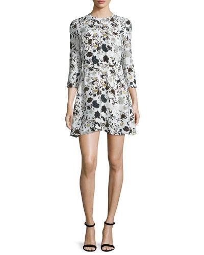 Terry 3/4-Sleeve Floral Silk Dress, Eggshell/Black/Blue