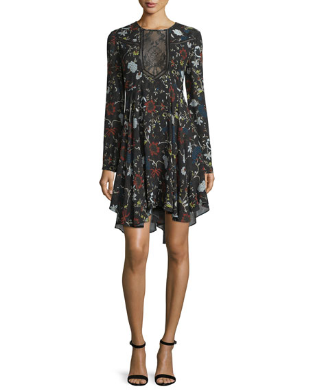 A.L.C. Cynthia Long-Sleeve Floral Silk A-Line Dress,