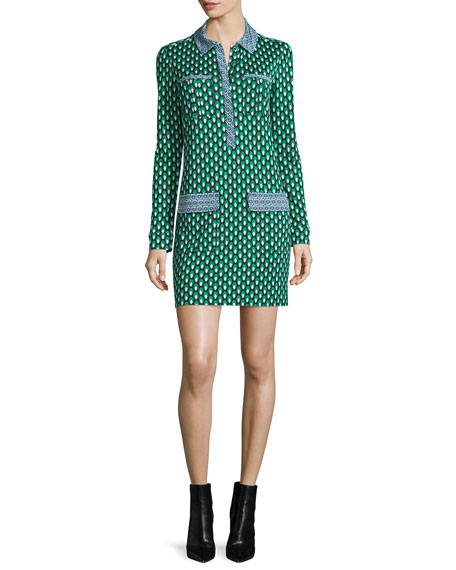 Diane von FurstenbergDenny Long-Sleeve Square Stamps Silk Dress,