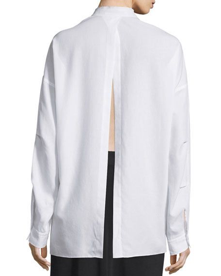 Long-Sleeve Open-Back Poplin Blouse, White