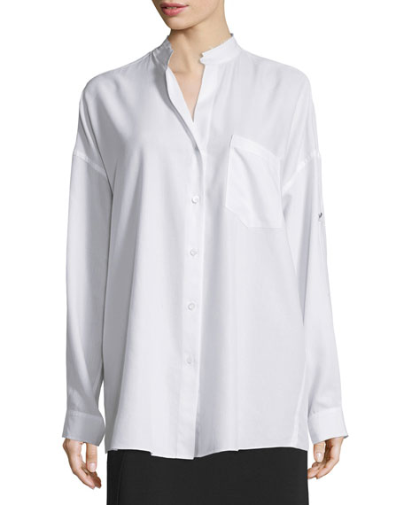 Helmut Lang Long-Sleeve Open-Back Poplin Blouse & Draped