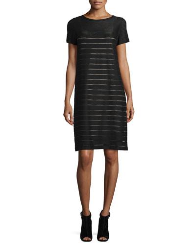 Mixed-Stripe Short-Sleeve Shift Dress, Black