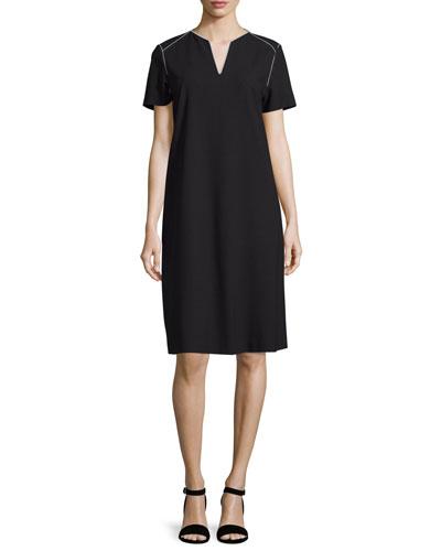 Ezra Contrast-Piped Short-Sleeve Dress, Black