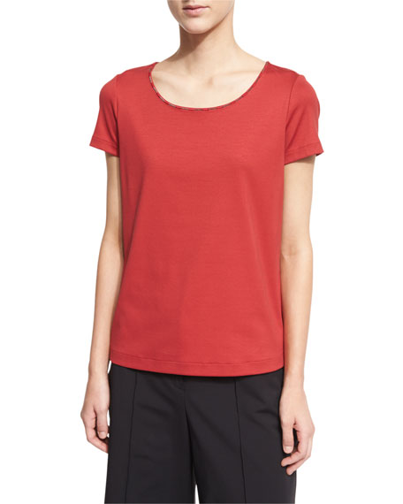 Lafayette 148 New York Chain-Trim Scoop-Neck Tee, Red