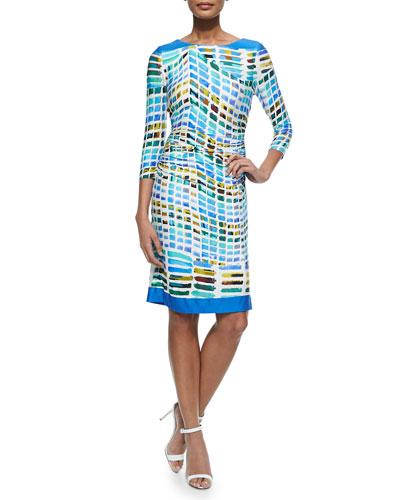 3/4-Sleeve Printed Ruched Sheath Dress