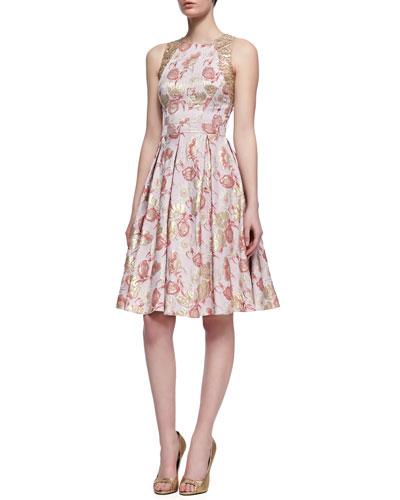 Floral-Print Sleeveless Golden Jacquard Dress, Rose Gold