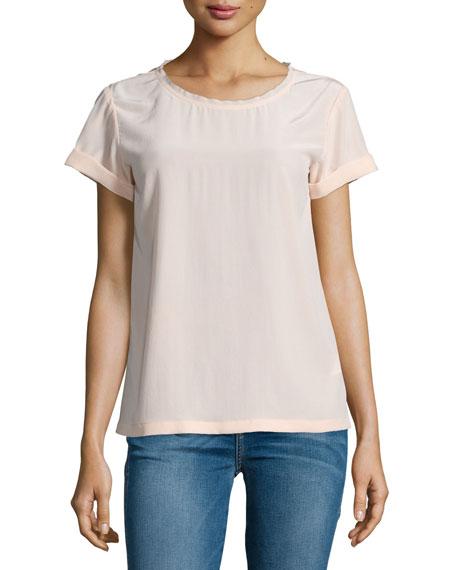 Bakeeve Summer Short-Sleeve Silk Top