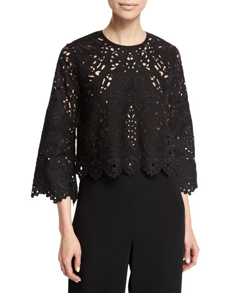 Theory Brizabela Embroidered-Lace Top