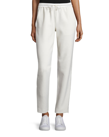 Elizabeth and James Collier Silk-Trim Track Pants, Ivory