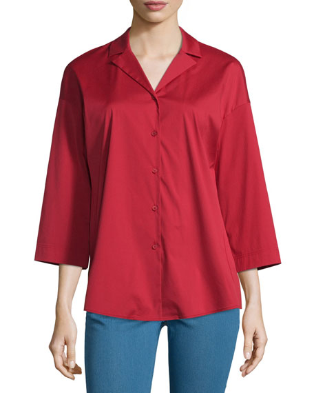 Lafayette 148 New York Analeigh Bracelet-Sleeve Blouse, Red